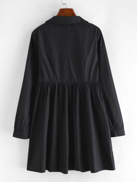 affordable Pleated Detail A Line Shirt Dress - BLACK L Mobile