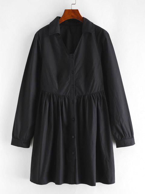 chic Pleated Detail A Line Shirt Dress - BLACK S Mobile
