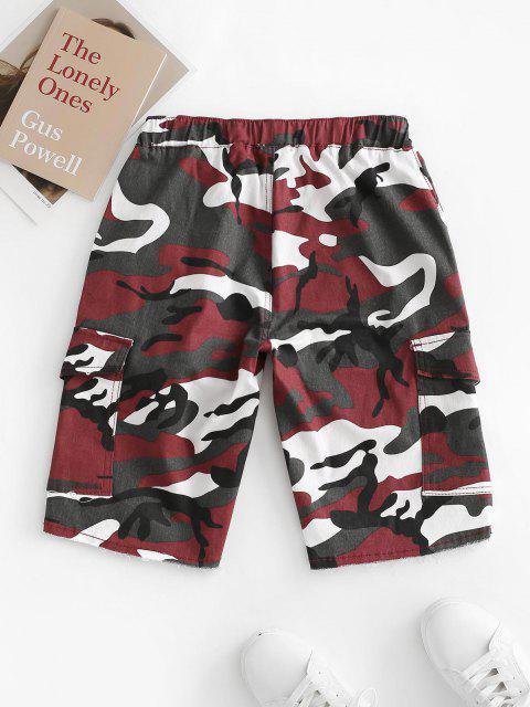 outfits Drawstring Camo Raw Hem Cargo Bermuda Shorts - RED M Mobile