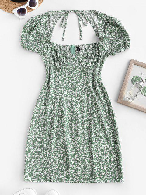 sale Ditsy Floral Tie Back Puff Sleeve Milkmaid Dress - DEEP GREEN L Mobile