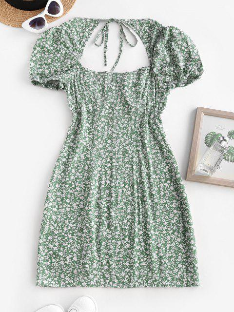 women Ditsy Floral Tie Back Puff Sleeve Milkmaid Dress - DEEP GREEN M Mobile