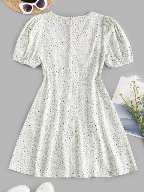 sale Puff Sleeve Ditsy Floral Buttoned Mini Dress - WHITE M Mobile
