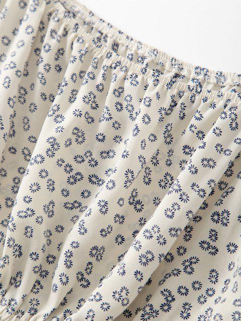 Robe Courte Fleurie à Manches Bouffantes Deux Pièces - Blanc XL Mobile