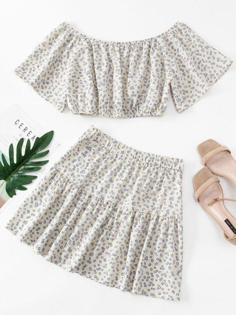 shop Ditsy Floral Flutter Sleeve Cropped Two Piece Dress - WHITE S Mobile