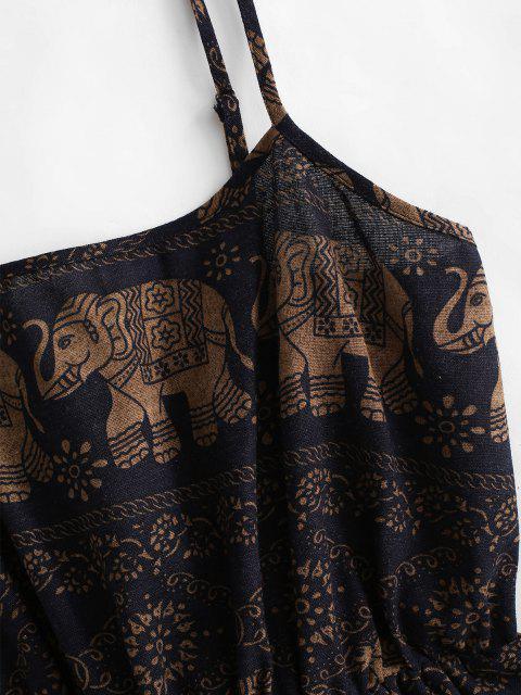 Pagliaccetto Largo Floreale con Elefante Bohemian - Profondo blu L Mobile