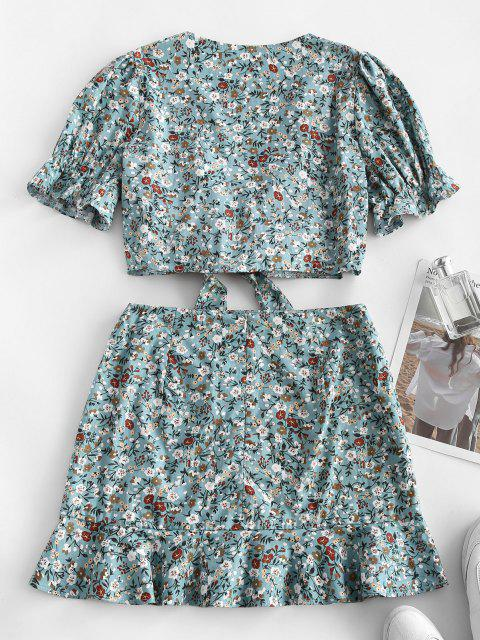 Ditsy Print Tie Front Top and Ruffle Skirt Top - أزرق فاتح M Mobile