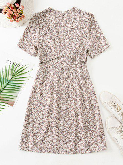 best Ruched Empire Waist Ditsy Floral Mini Dress - LIGHT COFFEE M Mobile
