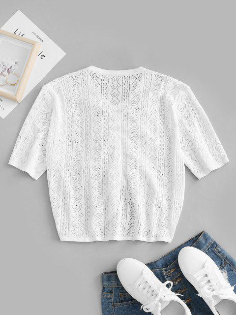 shops ZAFUL Plus Size Pointelle Knit Cinched Ruched Knitwear - WHITE 3XL Mobile