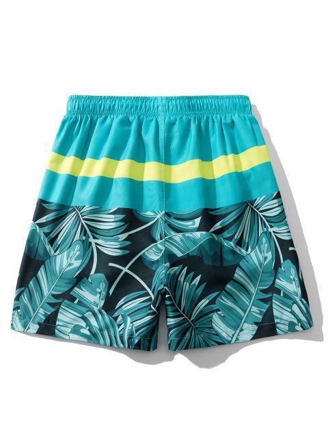 Short de Vacances Feuille Tropicale - Bleu Vert Ara  XL Mobile
