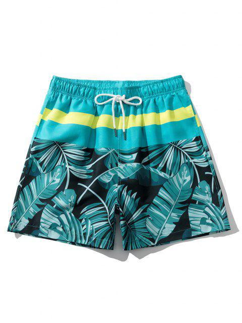 fancy Tropical Leaf Vacation Shorts - MACAW BLUE GREEN M Mobile