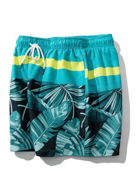 Short de Vacances Feuille Tropicale - Bleu Vert Ara  L Mobile