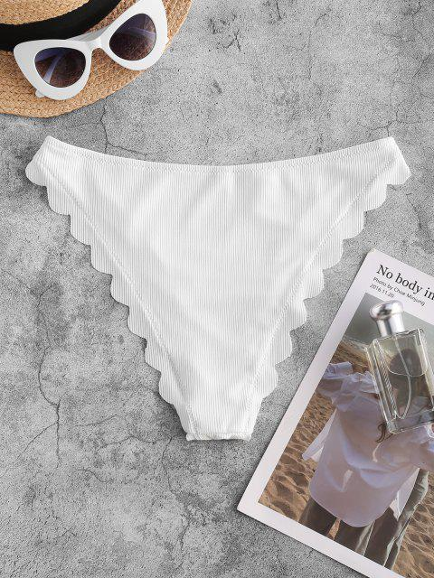 sale ZAFUL Scalloped Trim Ribbed High Leg Bikini Bottom - WHITE S Mobile