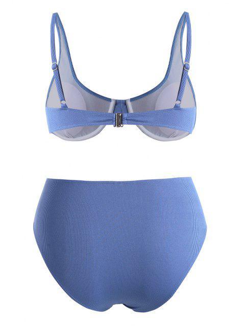 best ZAFUL Plus Size Underwire Ribbed High Waist Bikini Set - BLUE XXXL Mobile