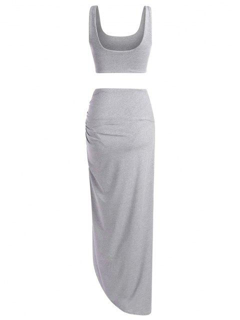 unique Marled Tank Top and Twist High Slit Skirt Set - GRAY S Mobile