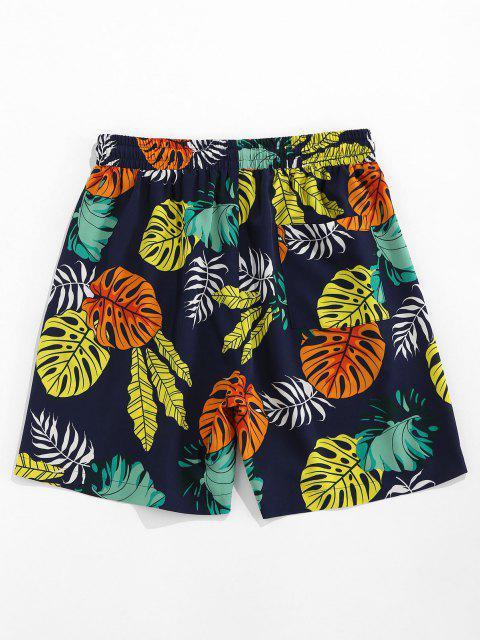 lady ZAFUL Tropical Leaves Print Beach Shorts - DEEP BLUE L Mobile