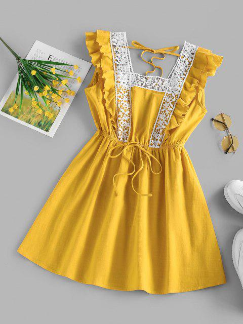 women's ZAFUL Ruffle Armhole Crochet Panel Tie Dress - DEEP YELLOW L Mobile