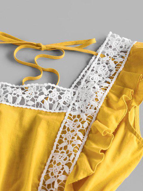 shop ZAFUL Ruffle Armhole Crochet Panel Tie Dress - DEEP YELLOW S Mobile