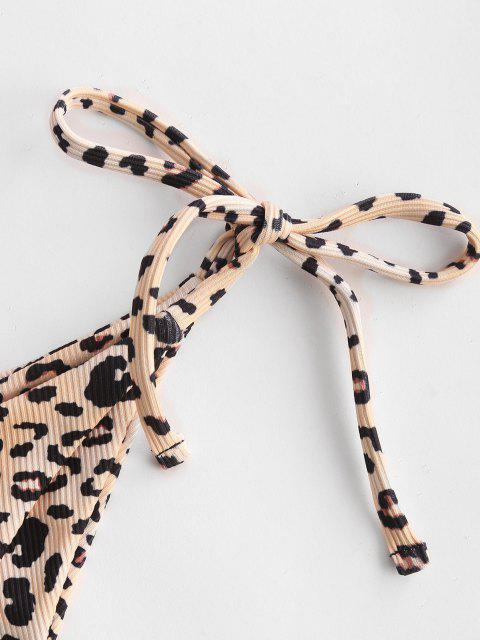online ZAFUL Leopard Ribbed Tie Side Tanga Bikini Bottom - LIGHT COFFEE S Mobile