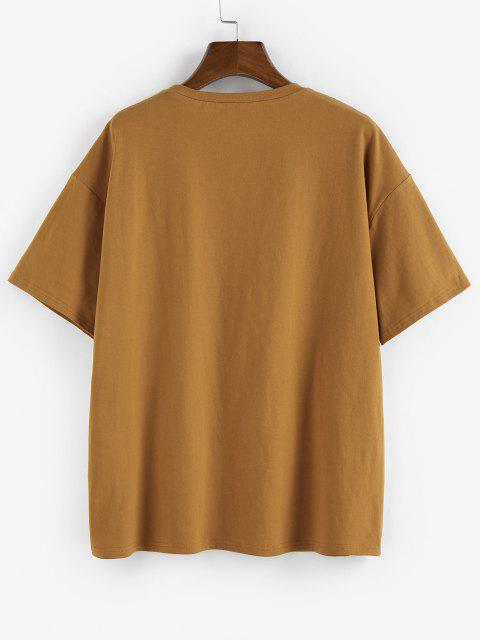 buy ZAFUL Tiger Print Drop Shoulder Boyfriend T-shirt - COFFEE L Mobile