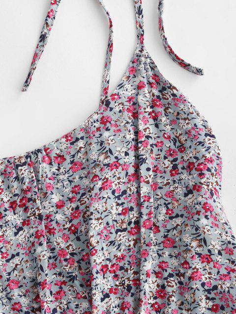 Robe D'Eté Fleurie Imprimée Plissée Nouée Au Dos - Bleu clair L Mobile