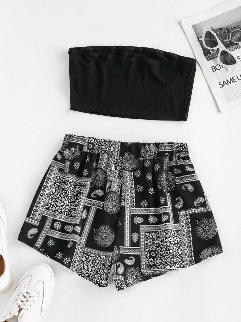 fashion ZAFUL Bohemian Flower Ribbed Bandeau Shorts Set - BLACK XL Mobile