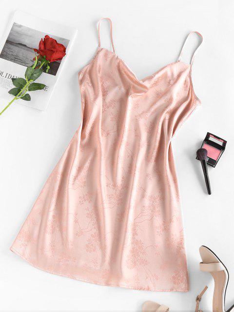 women's ZAFUL Flower Jacquard Cowl Front Mini Dress - LIGHT PINK S Mobile