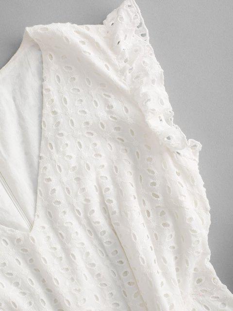 ZAFUL Öse Gekräuseltes V Hals Minikleid - Weiß L Mobile