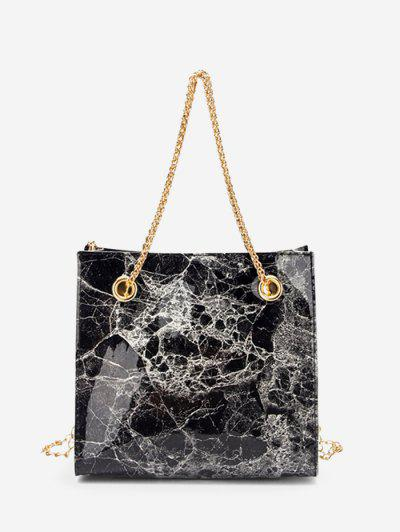 Marbling Pattern Square Chain Bag - Black