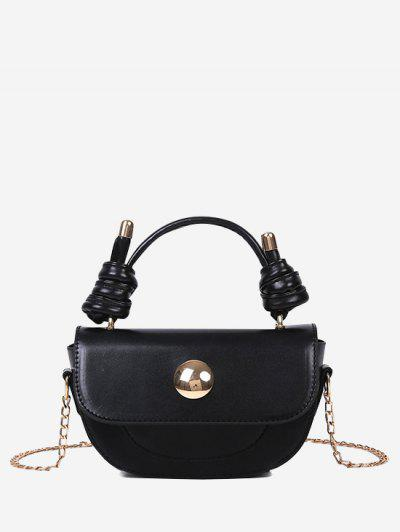 Knotted Chain Saddle Bag - Black