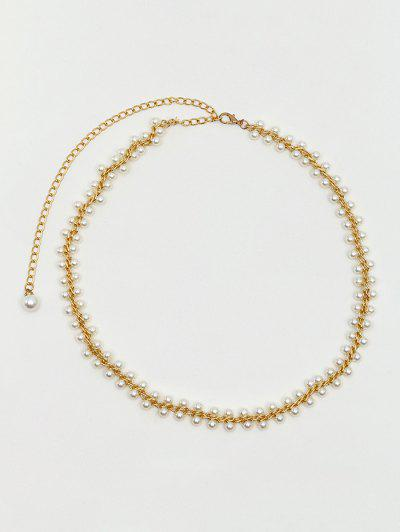 Faux Pearl Lined Decorative Chain Belt - Golden
