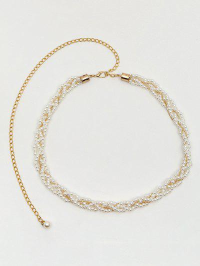 Faux Pearl Dress Waist Chain - Milk White
