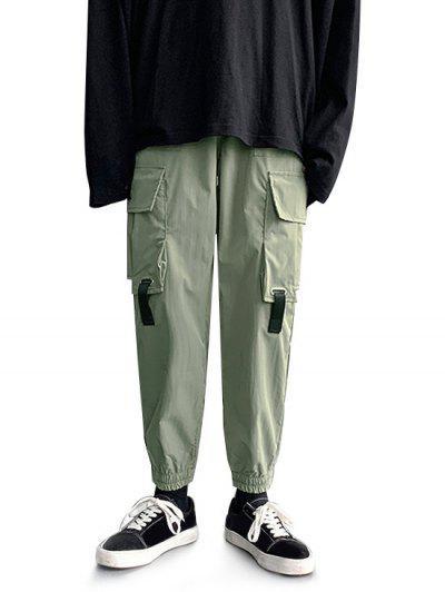 Multi-pocket Buckle Strap Cargo Pants - Deep Green L