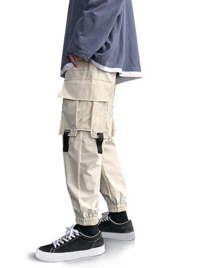 Multi-pocket Buckle Strap Cargo Pants - White M