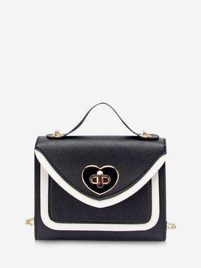 Colorblock Heart Shape Hasp Handbag - Black