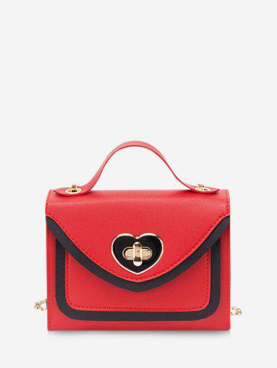 Colorblock Heart Shape Hasp Handbag - Red