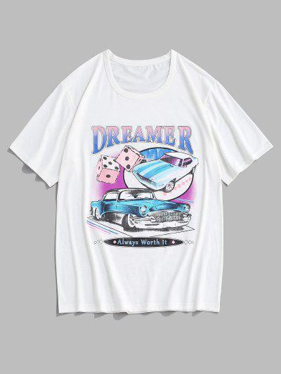 Dreamer Car Dice Graphic Short Sleeve T-shirt - White L
