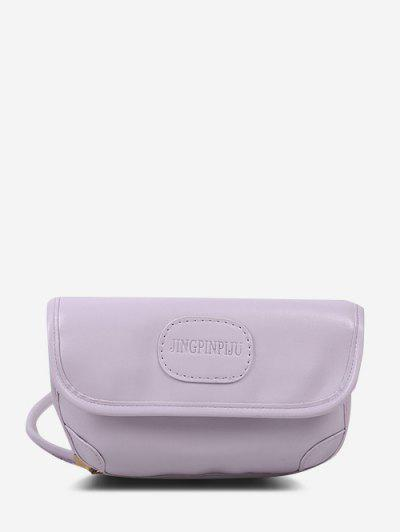 Embossed Letter Pattern Crossbody Bag - Light Purple