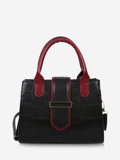 Stone Grain Color Block Buckle Strap Tote Bag - Black