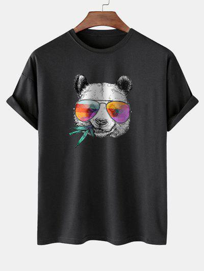 Cool Panda With Glasses Print Basic T-shirt - Black M