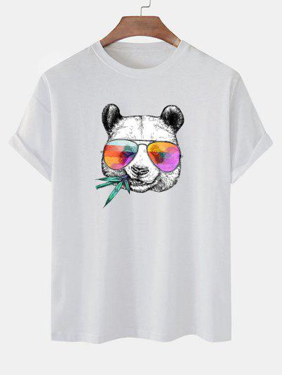 Cool Panda With Glasses Print Basic T-shirt - White L