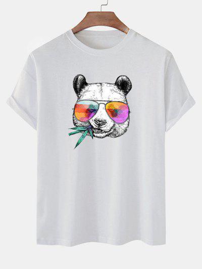 Cool Panda With Glasses Print Basic T-shirt - White M