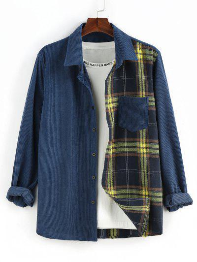 ZAFUL Plaid Panel Button Up Corduroy Shirt - Deep Blue L