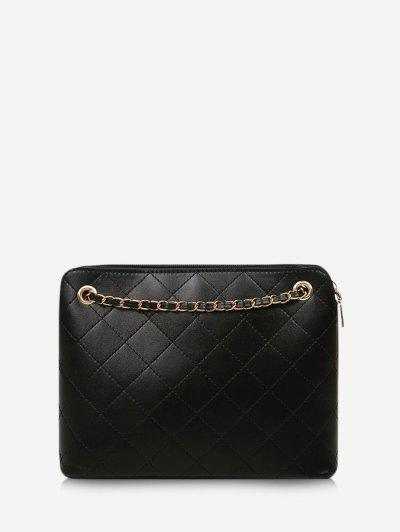 Rhombus Stitching Chain Shoulder Bag - Black