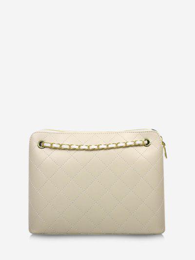 Rhombus Stitching Chain Shoulder Bag - Beige