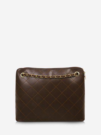 Rhombus Stitching Chain Shoulder Bag - Coffee