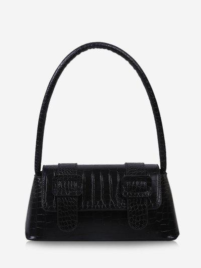 Textured Buckles Embellished Handbag - Black
