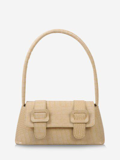 Textured Buckles Embellished Handbag - Goldenrod