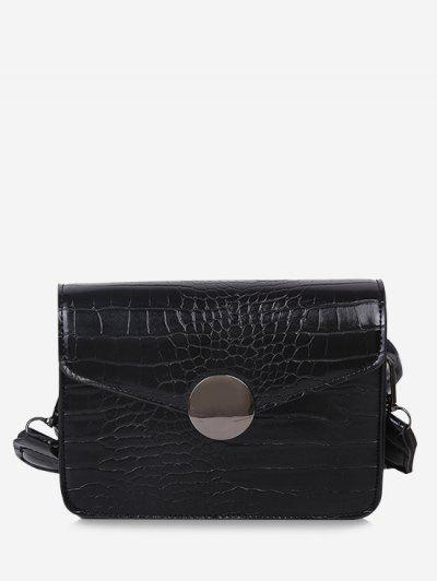 Twist Strap Cover Crossbody Bag - Black