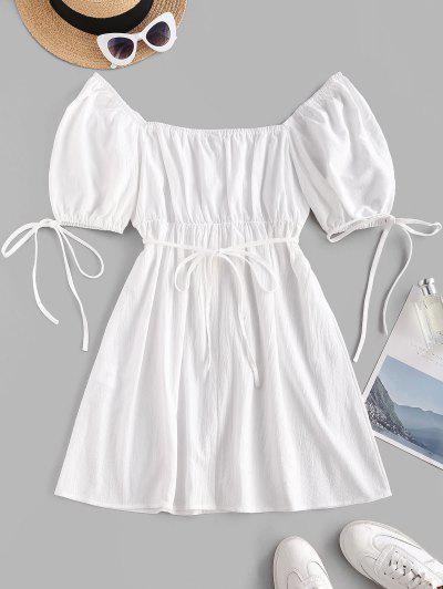 Puff Sleeve Tie Waist Milkmaid Mini Dress - White Xs