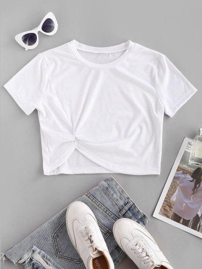 Twisted Short Sleeve Crop Tee - White M